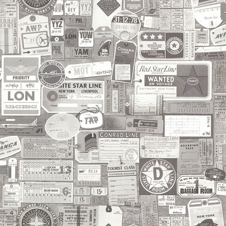 Beacon House Souvenir Grey Vintage Tags Wallpaper