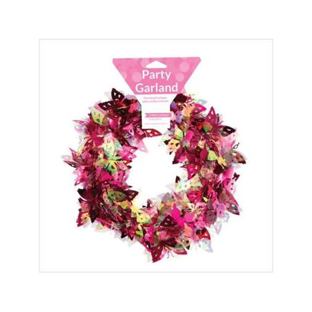 Club Pack of 12 Shimmering Pink and Yellow Butterfly Sparkle Wire Garland Party Decorations 12'