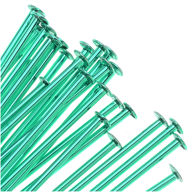 Green Color Brass  - Head Pins 2 Inch 21 Gauge (25)