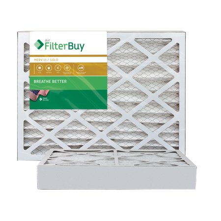AFB Gold MERV 11 16x25x4 Pleated AC Furnace Air Filter. Pack of 2 Filters. 100% produced in the USA.
