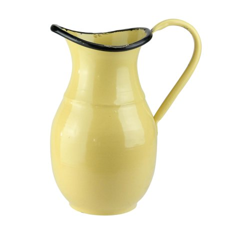 9 Canary Yellow And Black Distressed Rustic Decorative Pitcher Vase