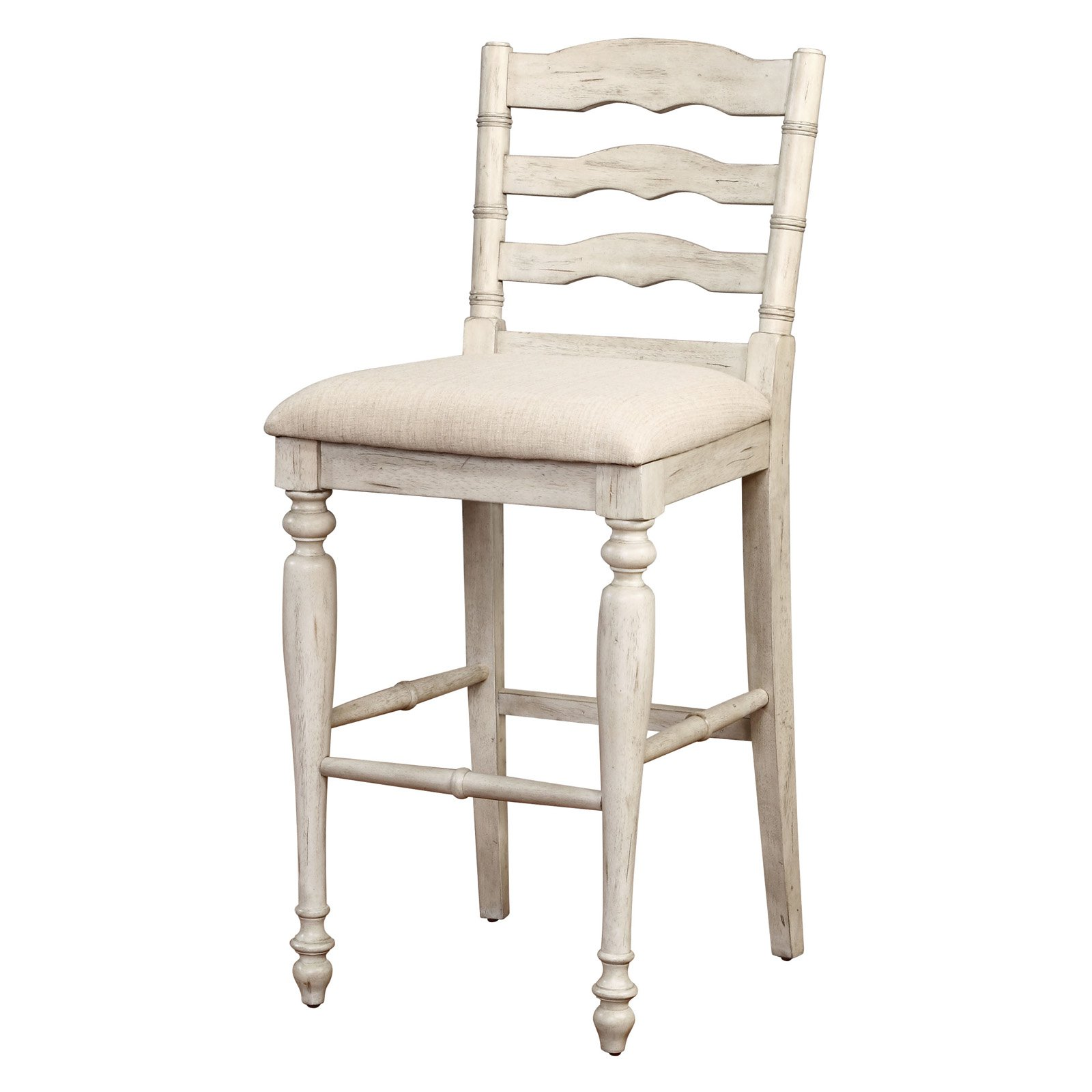 Linon Marino Bar Stool, White Wash, 30 inch Seat Height