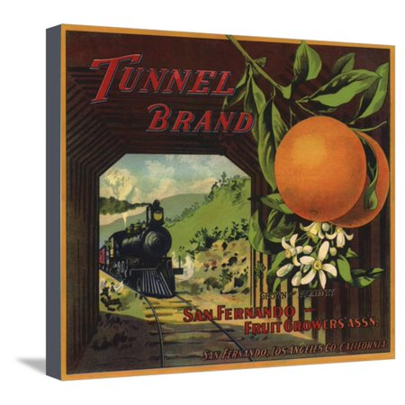 Tunnel Brand - San Fernando, California - Citrus Crate Label Stretched Canvas Print Wall Art By Lantern Press