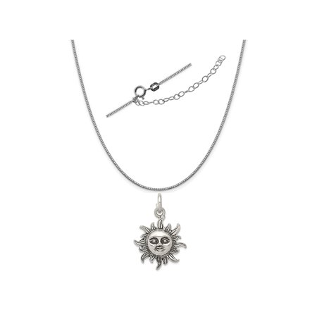 Sterling Silver Antiqued Sun Charm on a 0.90mm Box Chain Necklace, 18