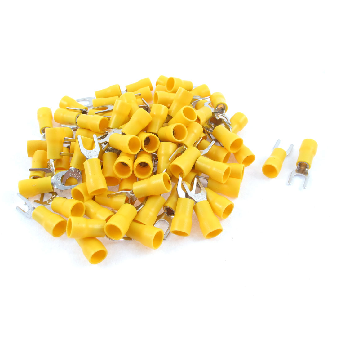 Unique Bargains 85PCS 12-10 AWG Stud Yellow Insulated Fork Spade Terminals Electrical Connector