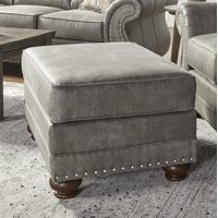 Roundhill Leinster Faux Leather Upholstered Nailhead Ottoman in Stone Gray