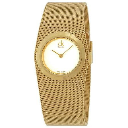 Impulsive White Dial Gold-tone Mesh Ladies Watch K3T23526