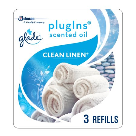 Glade PlugIns Scented Oil Refill Clean Linen, Essential Oil Infused Wall Plug In, Up to 50 Days of Continuous Fragrance, 1.34 oz, Pack of (Meyers Scent Diffuser Refill)