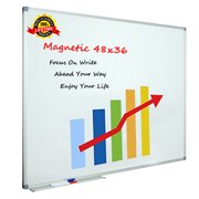 """X Board Magnetic Whiteboard/Dry Erase Board, 48""""x36"""" Aluminum Frame White Boards with Marker Tray & 3 Dry Erase Markers & 8 Push Pin Magnets for Home, Office and School"""