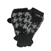 Isotoner Womens Black & Gray Convertible Flip Top Fingerless Gloves Sherpa Soft