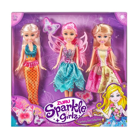 ZURU Sparkle Girlz Fantasy Doll Set of 3 (Mermaid, Princess, and Fairy!) Now $6.50