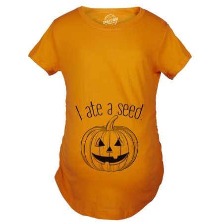 Maternity I Ate A Seed Tshirt Halloween Jack O Lantern Pumpkin Pregnancy Tee (Halloween Shirt For Pregnant Women)