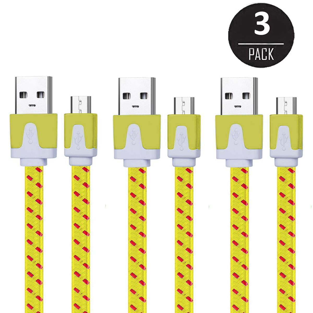 EEEKit 3 Packs 6Ft Nylon Braided Micro USB Charging Sync Data Cable Charger Cord for Android Phones, Samsung Galaxy S7 S6/Note 5, HTC, LG