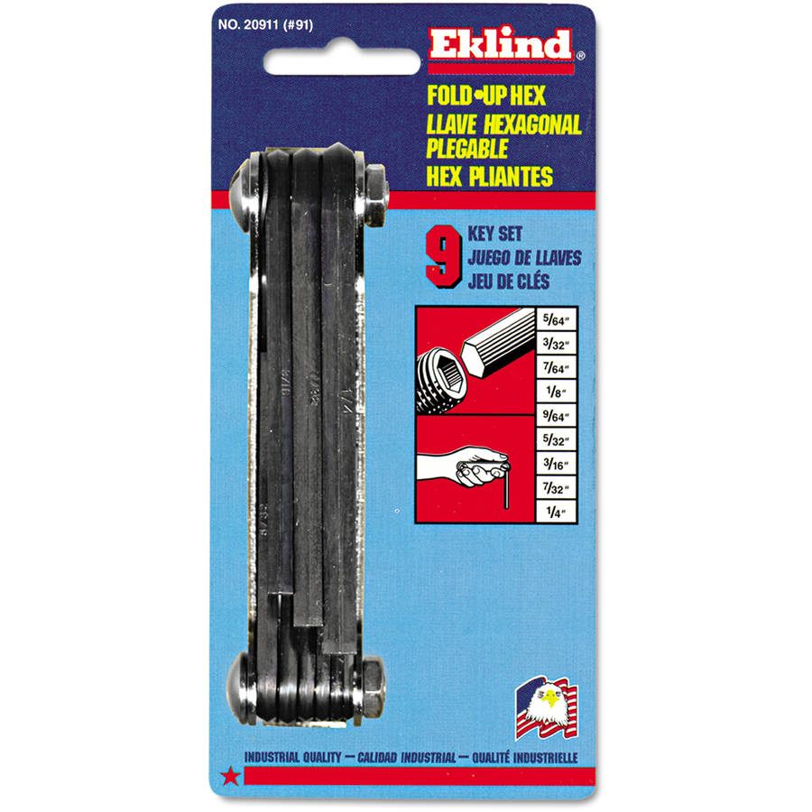 Eklind N91 Classic Fold-Up Tool, 9-Piece Hex Set, SAE, Polished Steel/Black Oxide