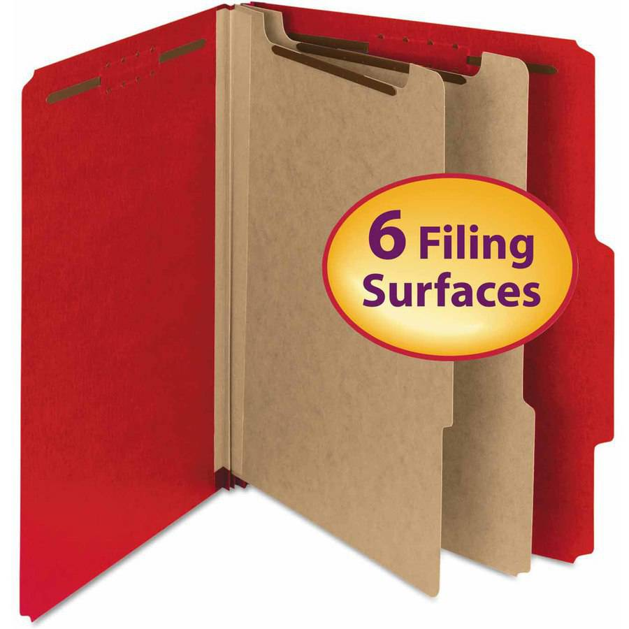 "Smead Pressboard Classification Folder, 2"" Expansion, 2 dividers, Letter, Bright Red, 10/BX"