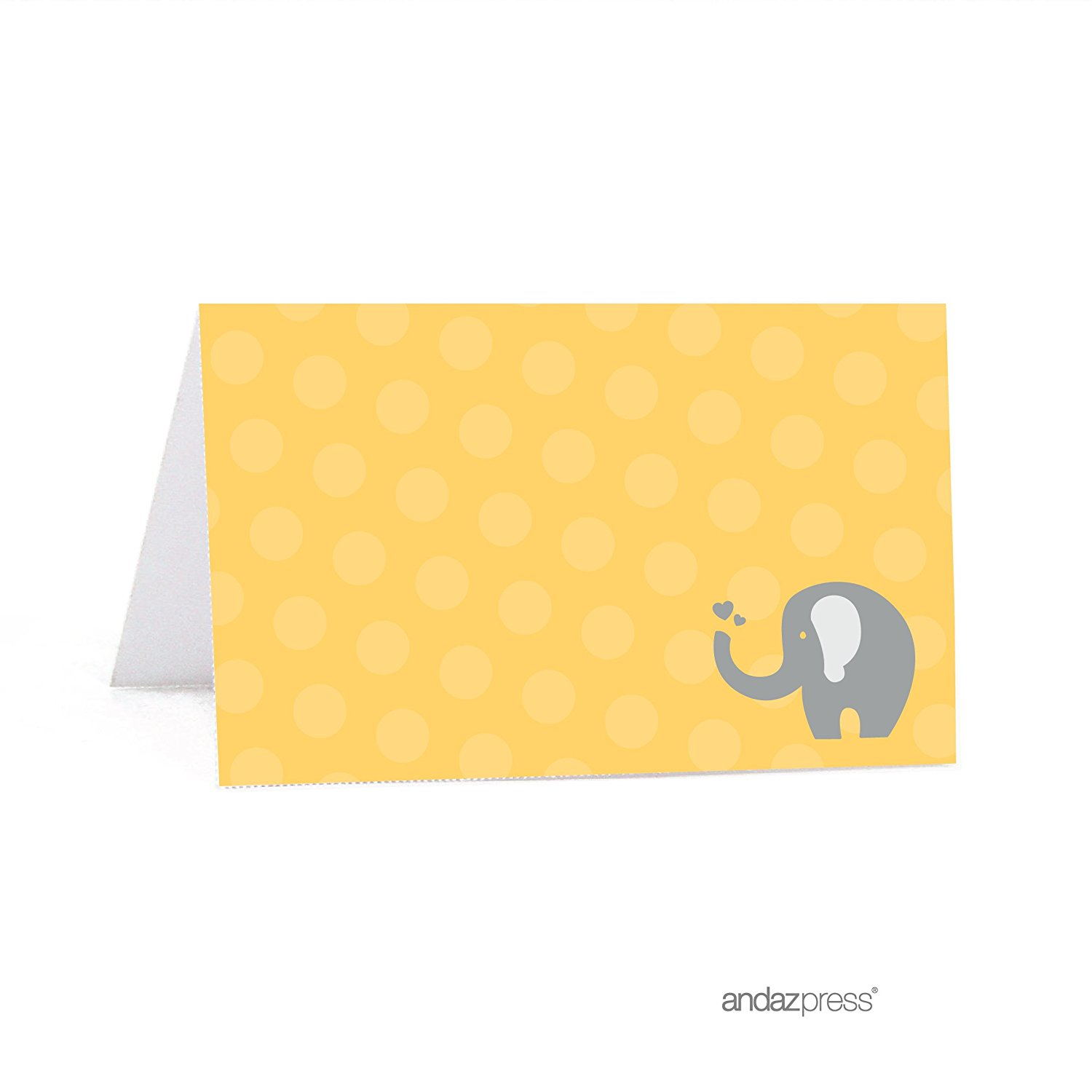 picture about Printable Place Card called Yellow Elephant Child Shower Desk Tent Printable Position Playing cards, 20-Pack