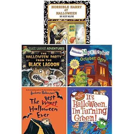 Awesome Five Book Halloween Paperback Set for Mid Elementary Age Readers Includes the Best Halloween Ever, Horrible Harry At Halloween, It's Halloween I'm Turning Green,.., By Scholastic Ship from - Disfraces Horribles Halloween