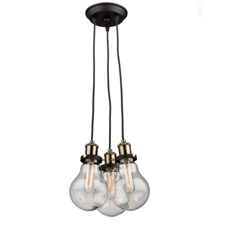 106 Vintage Brass Finish (Chandeliers 3 Light Bulb Fixture With Matte Black and Vintage Brass Finish Clear Glass Medium 11