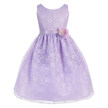- Little Girls Lilac Floral Lace Flower Girl Dress 2T-6X