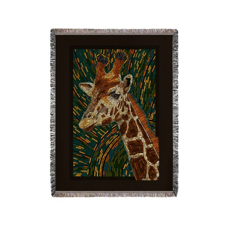 Chenille Giraffe - Giraffe - Mosaic - Lantern Press Artwork (60x80 Woven Chenille Yarn Blanket)