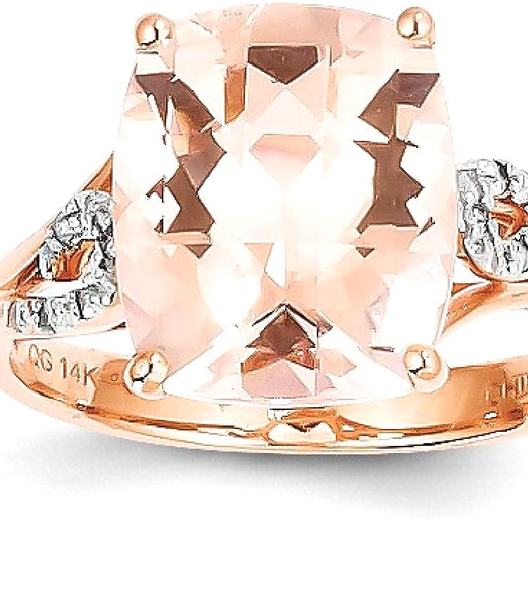 ICE CARATS 14kt Rose Gold Diamond Pink Morganite Square Band Ring Size 7.00 Stone Gemstone Fine Jewelry Ideal Gifts For... by IceCarats Designer Jewelry Gift USA