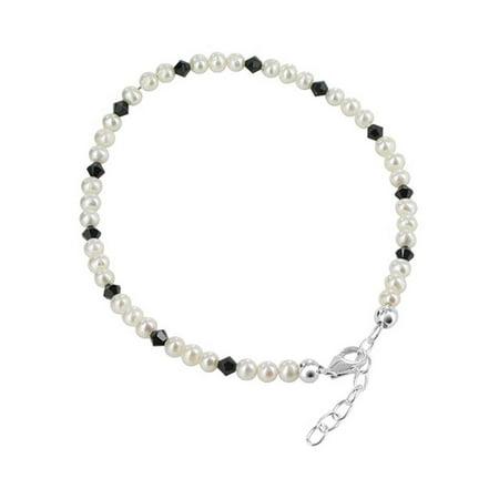 Gem Avenue Sterling Silver Freshwater Pearl with Black Crystal Anklet 9 - 10 inch Adjustable Swarovski Elements