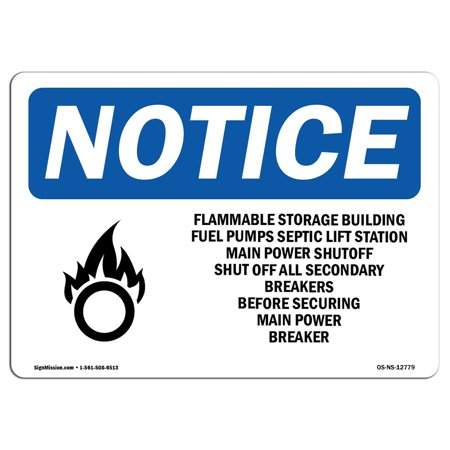 OSHA Notice Sign - Flammable Storage Building Fuel   Choose from: Aluminum, Rigid Plastic or Vinyl Label Decal   Protect Your Business, Construction Site, Warehouse & Shop Area   Made (Osha Flammable Storage)