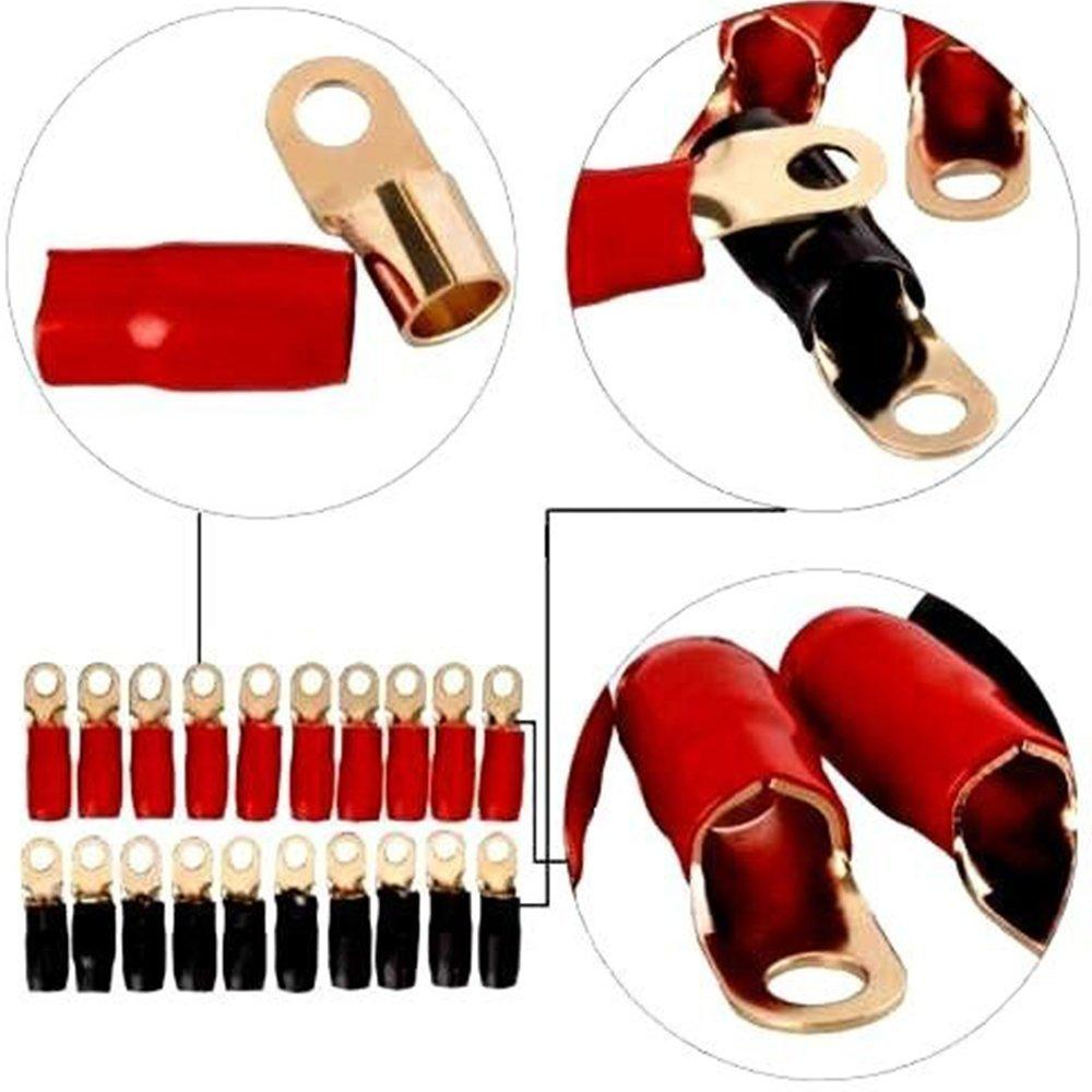 BLACKHORSE-RACING 4 AWG Wire Crimp Cable 4 Gauge Gold Ring Terminal Red//Black Boots 3//8 20 Pack Waterproof