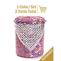 """LaRibbons 3"""" Reversible Sequin Ribbon Fabric Sewing DIY Hair Bow for Easter,Spring,Princess Birthday Fancy Craft - Iridescence Princess Rosy Mauve/Laser Silver"""