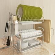 3 Tier Dish Drainer Drying Rack Holder Stainless Steel Home Kitchen Washing Storage Counter Organizer Space-Saving Shelf With Utensil Holder/Drain Board/Cutting Board Bracket