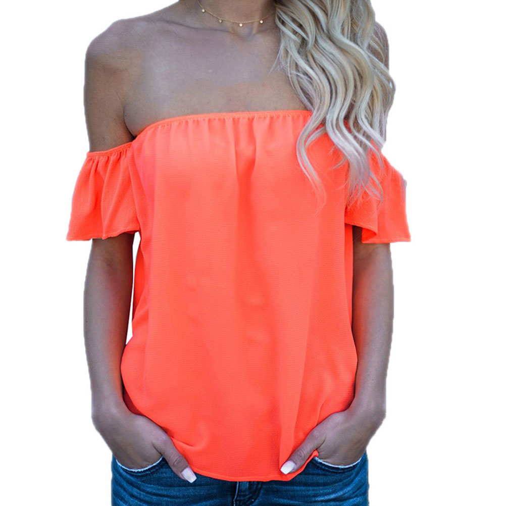 Nlife Women Flouncing Short Sleeve Off the Shoulder Solid Top Blouse