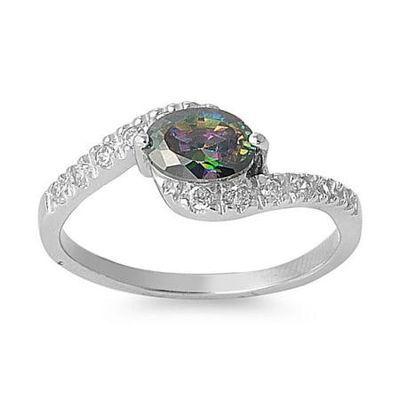Birthstone Swirl Ring (Swirled Destiny Mystic Simulated Topaz Cubic Zirconia Ring Sterling Silver)