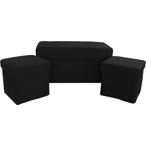 Microfiber Collapsible Storage Ottoman, 3-Pack, Multiple Colors