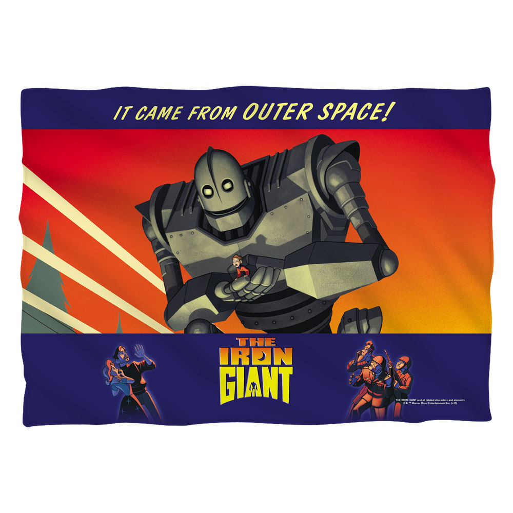 Iron Giant It Came From Space (Front Back Print) Poly 20X28 Pillow Case White On