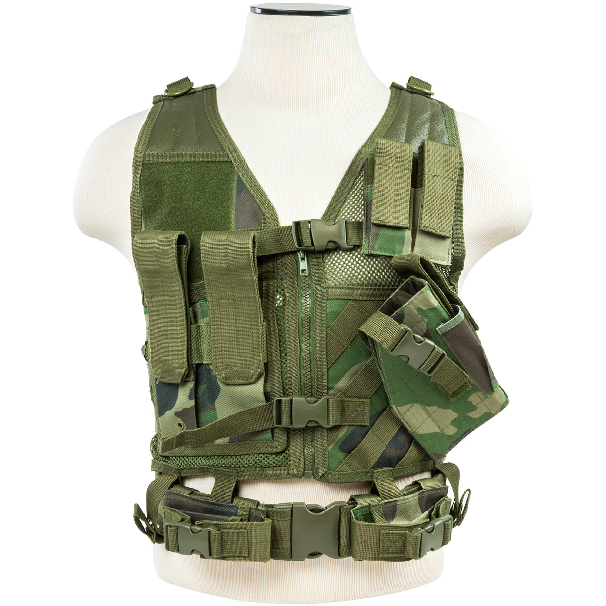 NcSTAR Tactical Vest, Smaller Size, Woodland Camo (XS to S)