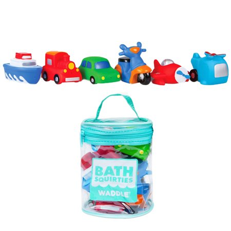Waddle Transportation Bath Squirter Toys Boys Cars Trucks 6 Pack Bathtime Gift ()
