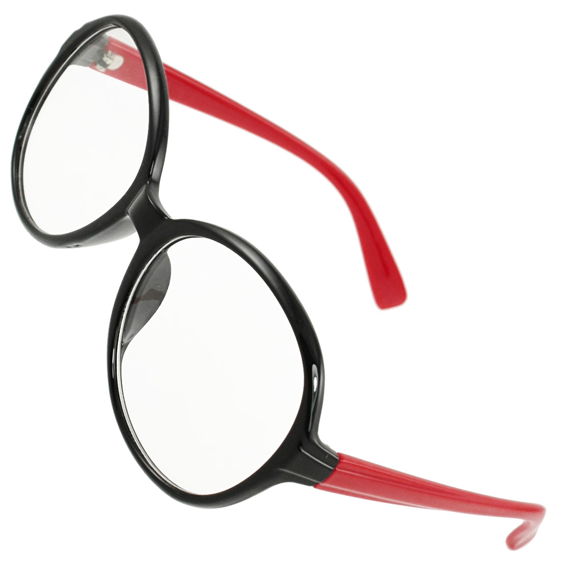 Black Full Frame Red Plastic Arms Clear Lens Plano Glasses for Ladies