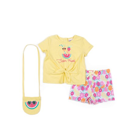 Watermelon Tie Front Tee and Short, 2-Piece Outfit Set with GWP (Little Girls)