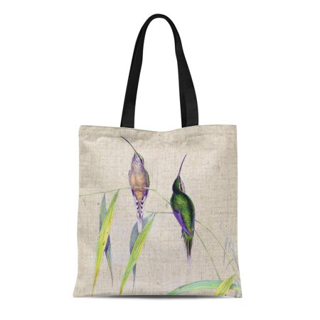 SIDONKU Canvas Tote Bag Gould Hummingbird Birds Bamboo Leaves Botanical Vintage Simple Reusable Handbag Shoulder Grocery Shopping Bags