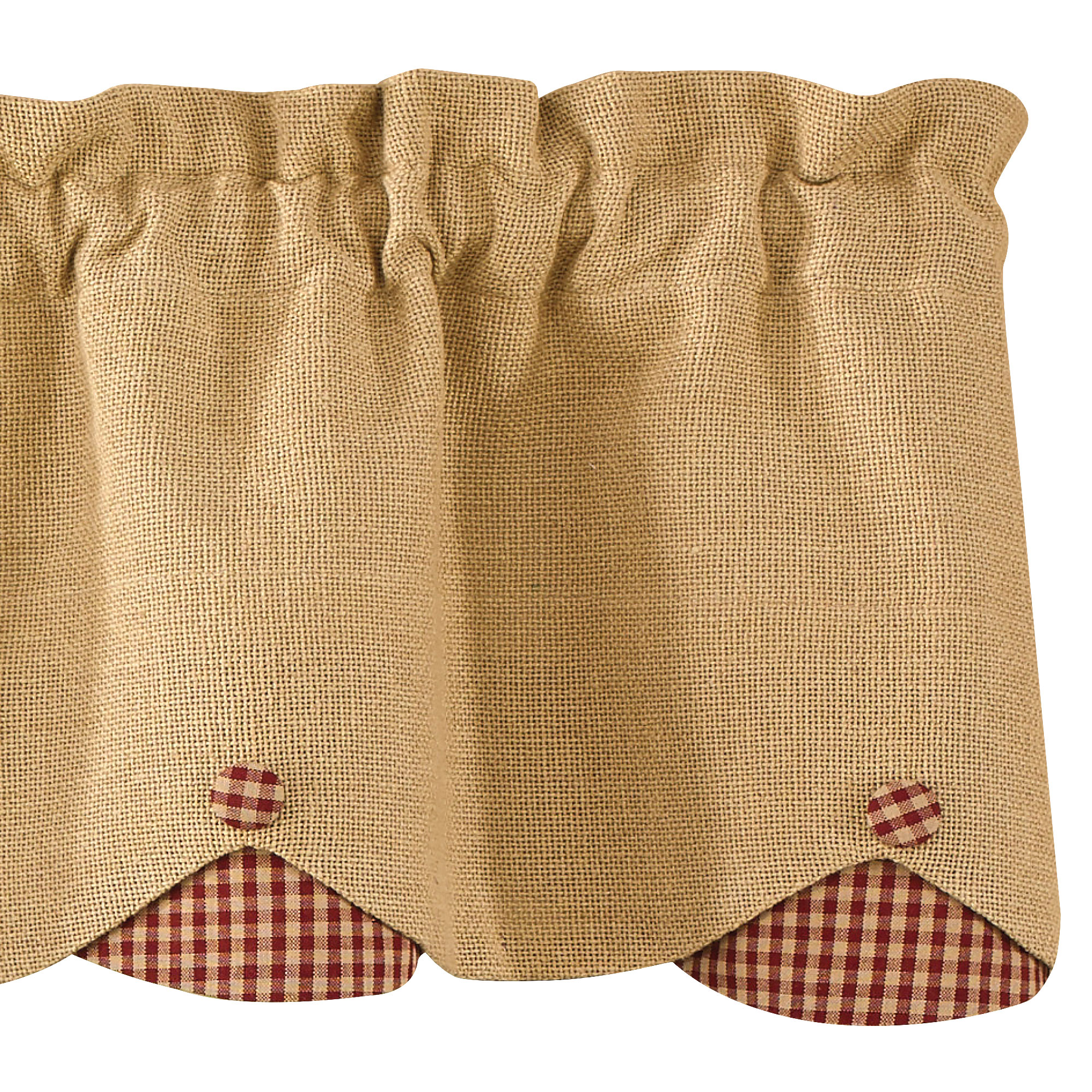 Burlap and Check Scalloped Curtain Valance by Park Designs Black or Wine