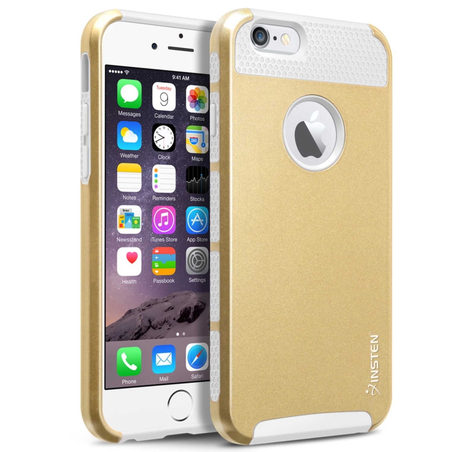"Insten White TPU/Gold Hard Hybrid Cover Case For Apple iPhone 6 6S 4.7"" 4.7 Inches (2-Piece Shockproof Dual Layer Style)"