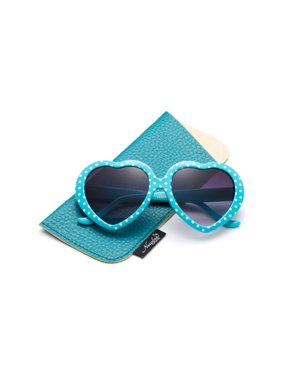 Newbee Fashion-Kids Heart Sunglasses Girls Heart Shaped Sunglasses Polka Dots Cute Vintage Look UV Protection w/Carrying Pouch