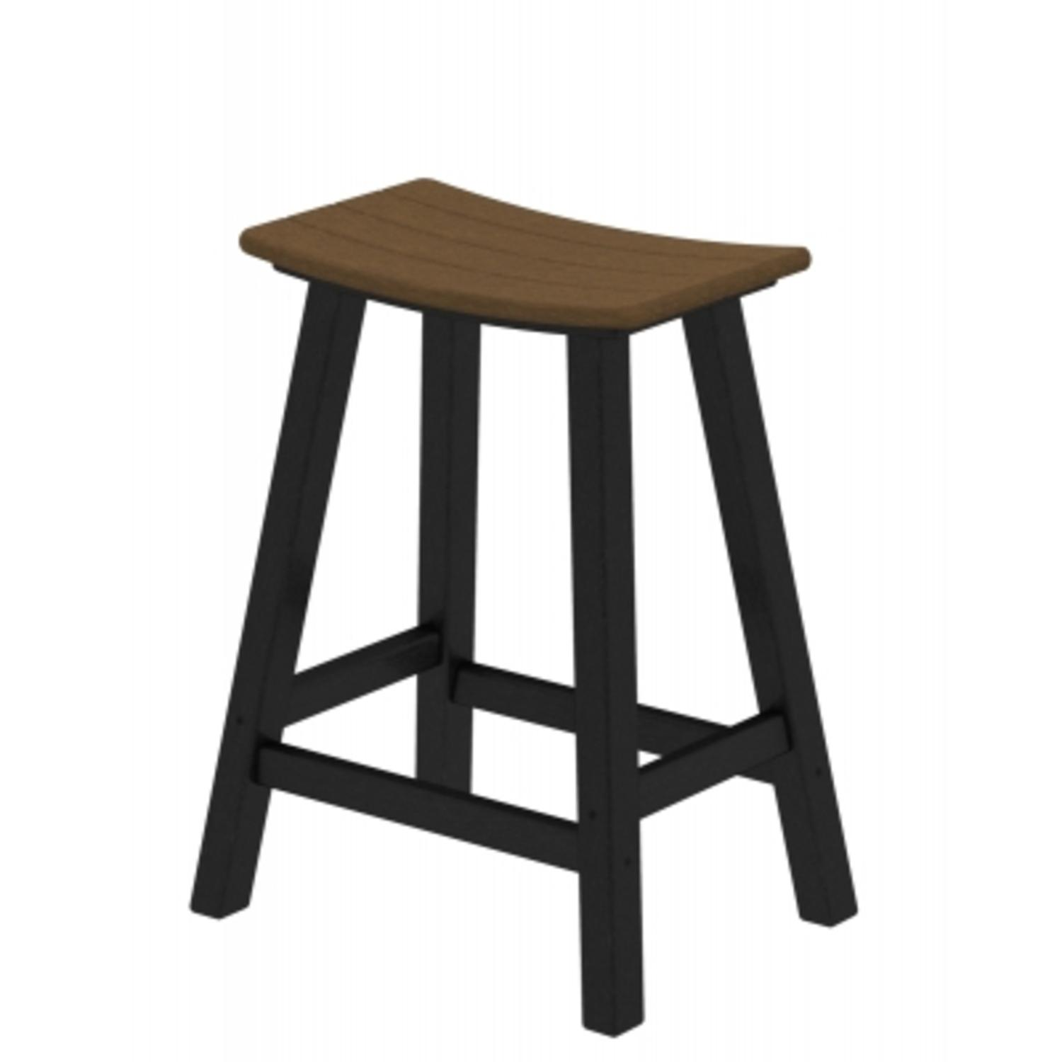 "24.75"" Recycled Earth-Friendly Curved Outdoor Bar Stool - Teak With Black Frame"