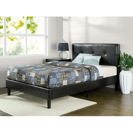 Zinus Kitch Faux Leather Detail-Stitched Platform Bed, Multiple Sizes 3 Piece Leather Bed