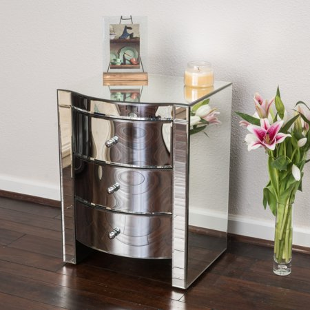 Noble House Abigail Mirrored Three Drawer Side Table