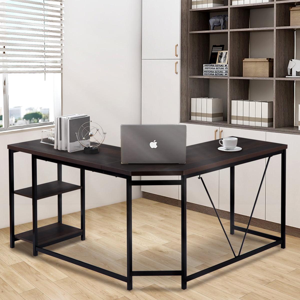 Merax L-Shaped Desk With Metal Legs Office Desk Corner