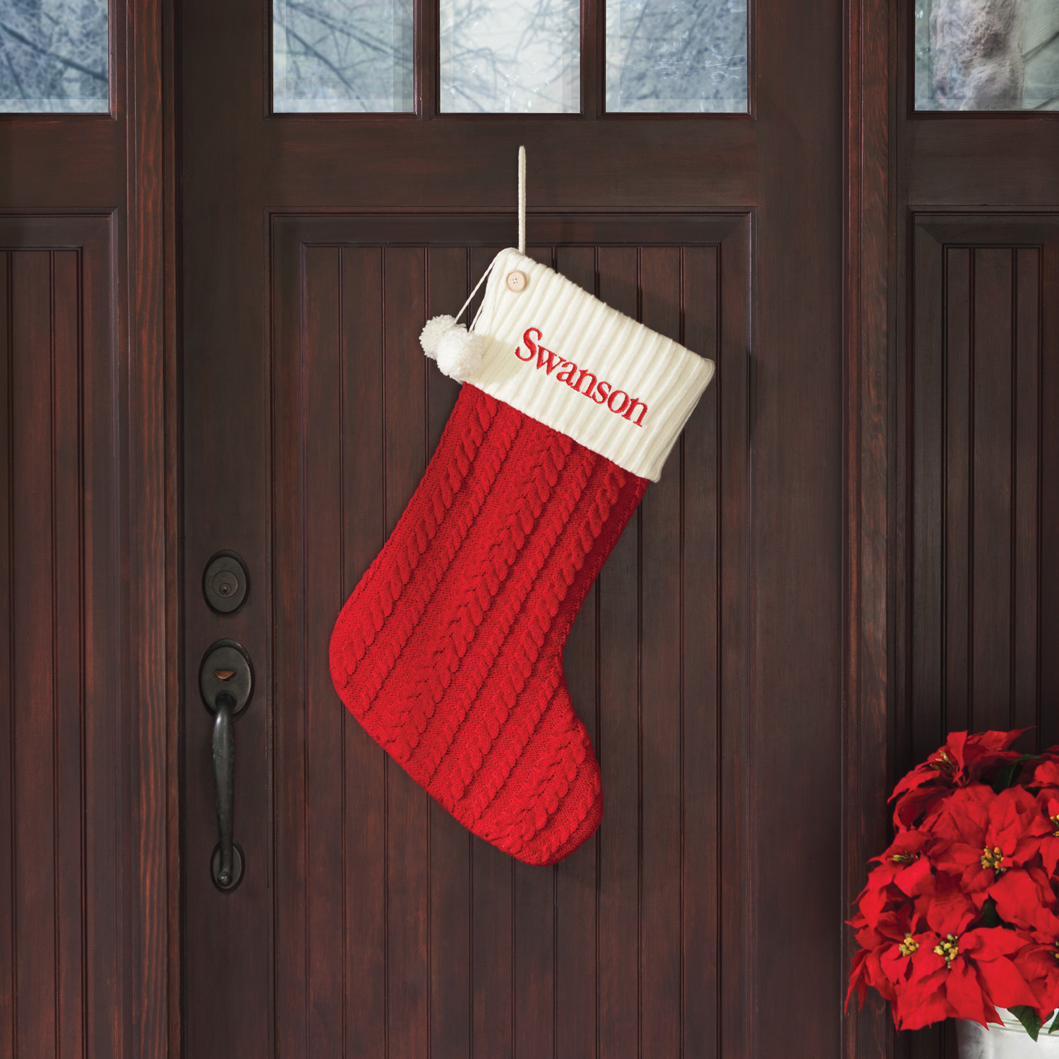 Personalized Giant Cable Knit Christmas Stocking