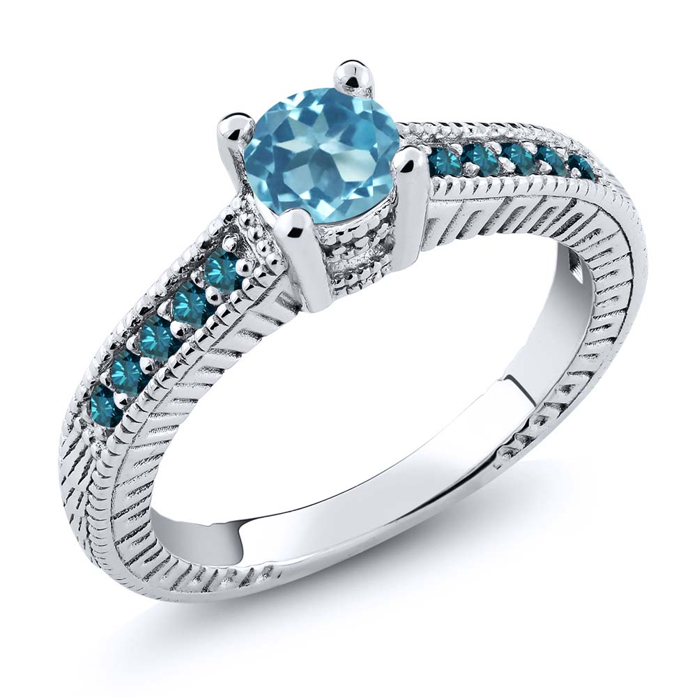 0.77 Ct Round Swiss Blue Topaz Blue Diamond 925 Sterling Silver Engagement Ring by