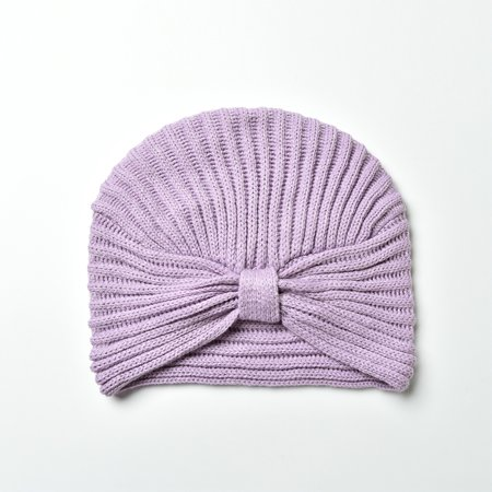 Soft Acrylic Knitted Purple Crochet Front Knotted Beanie Hat