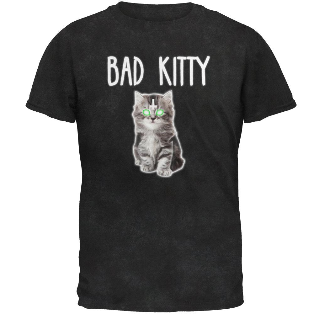 Halloween Bad Kitty Cat Mens Soft T Shirt
